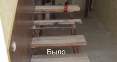 фото деревянной лестницы на металлокаркасе в Краснодаре