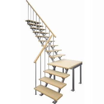 фото отделки металлического каркаса лестницы деревом в Краснодаре