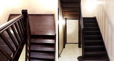 фото изготовления деревянной П-образной лестницы в Краснодаре