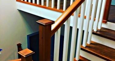 Изготовление деревянной Г-образной межэтажной лестницы
