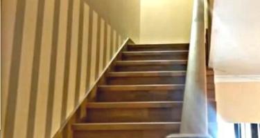 Отделка металлической лестницы буком